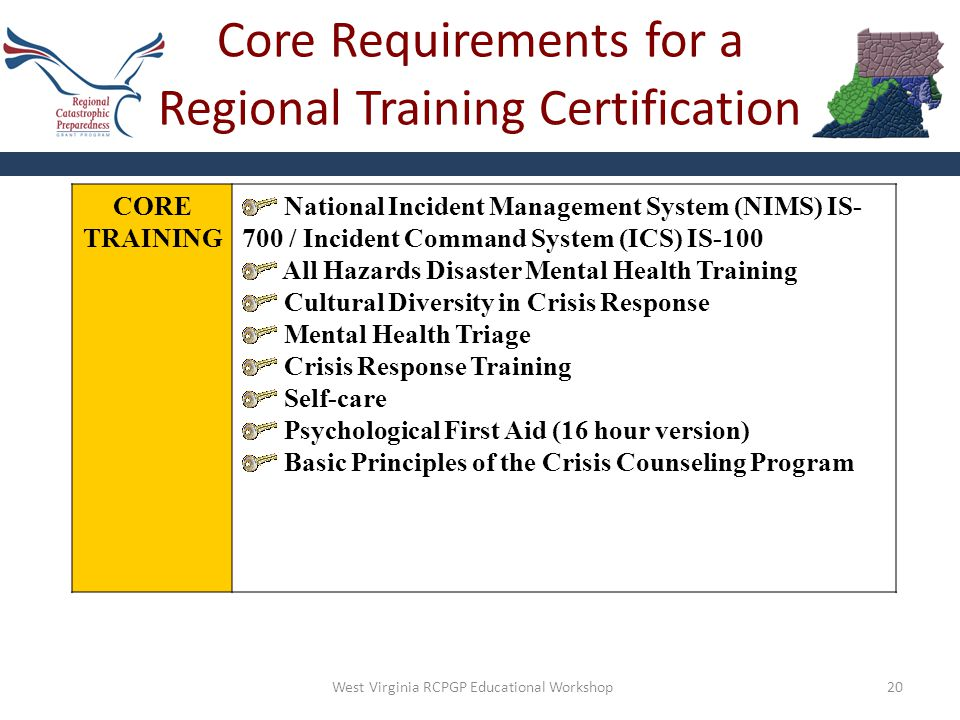 Core Requirements for a Regional Training Certification 20 CORE TRAINING National Incident Management System (NIMS) IS- 700 / Incident Command System