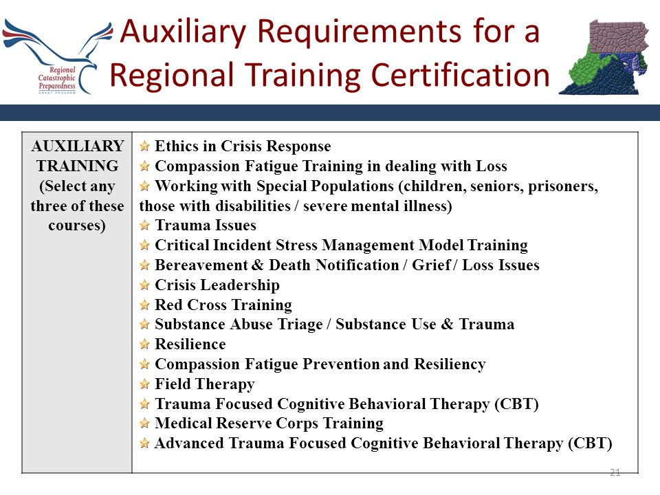 Auxiliary Requirements for a Regional Training Certification 21 AUXILIARY TRAINING (Select any three of these courses) Ethics in Crisis Response Compa