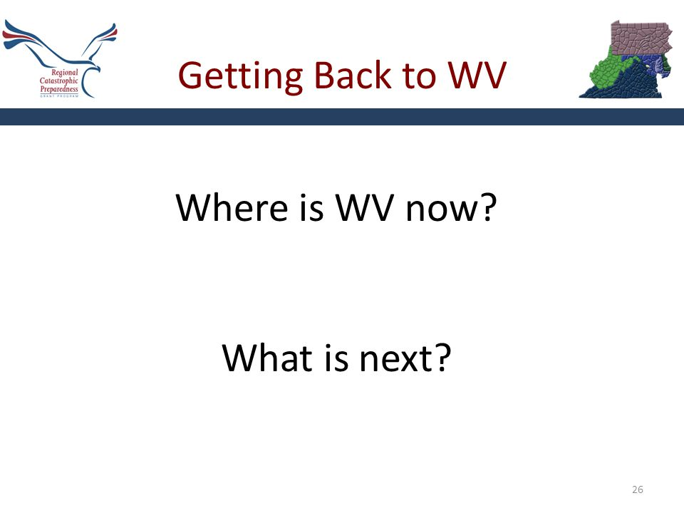 Getting Back to WV 26 Where is WV now? What is next?