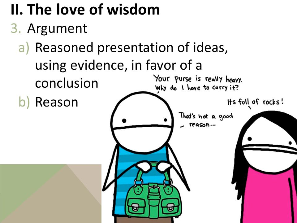 II. The love of wisdom 2.Assessment a)To examine and decide among proposals b)How to assess 1Is it coherent? 2Is it complete? 3Is it correct?