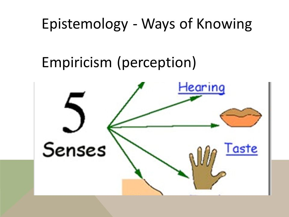 Epistemology - Ways of Knowing Empiricism Sense experience is the ultimate starting point for all of our knowledge