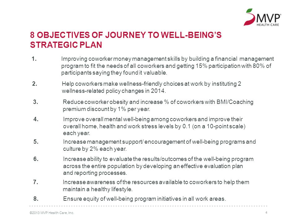 8 OBJECTIVES OF JOURNEY TO WELL-BEING'S STRATEGIC PLAN ©2013 MVP Health Care, Inc.