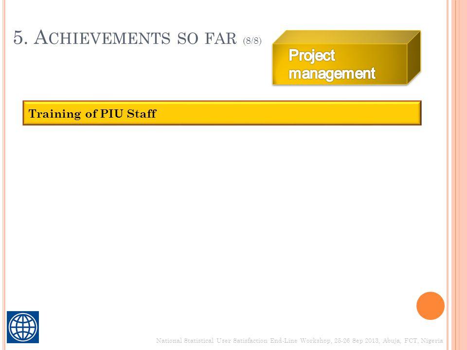 5. A CHIEVEMENTS SO FAR (8/8) National Statistical User Satisfaction End-Line Workshop, 25-26 Sep 2013, Abuja, FCT, Nigeria Training of PIU Staff
