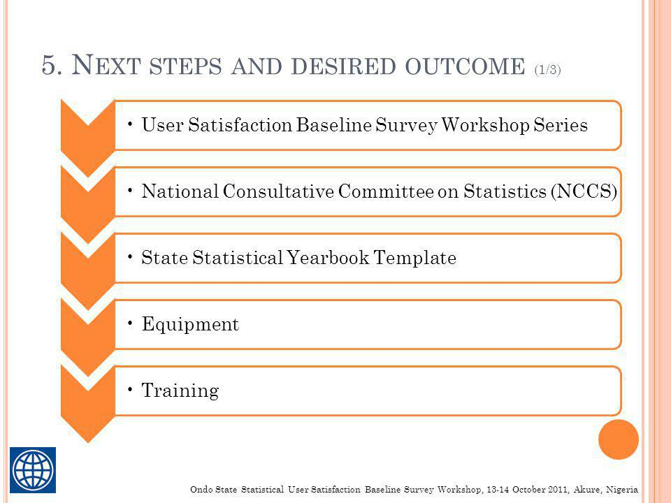 5. N EXT STEPS AND DESIRED OUTCOME (1/3) User Satisfaction Baseline Survey Workshop SeriesNational Consultative Committee on Statistics (NCCS)State St