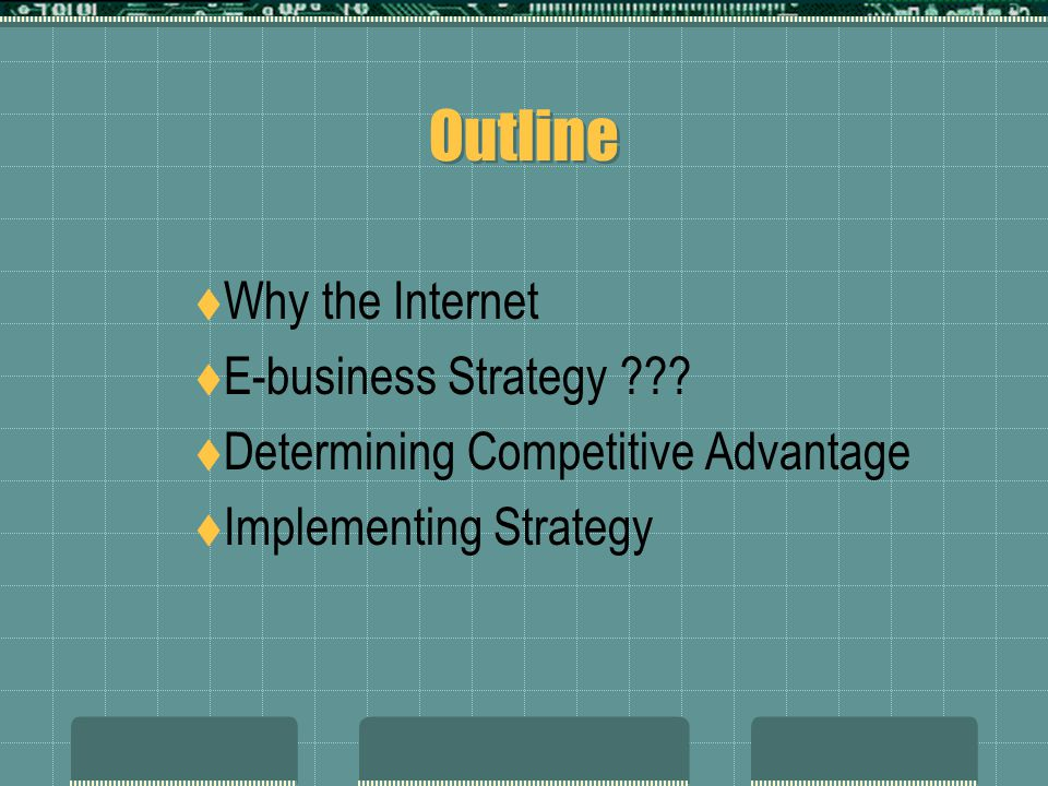 Outline  Why the Internet  E-business Strategy ??.