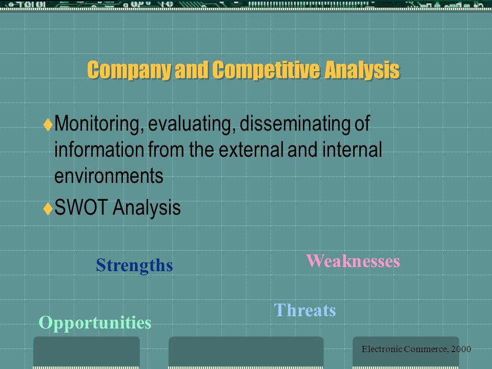 Company and Competitive Analysis  Monitoring, evaluating, disseminating of information from the external and internal environments  SWOT Analysis Strengths Weaknesses Opportunities Threats Electronic Commerce, 2000