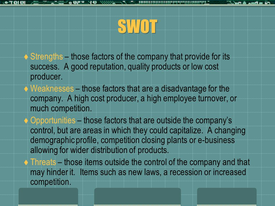 SWOT  Strengths – those factors of the company that provide for its success.
