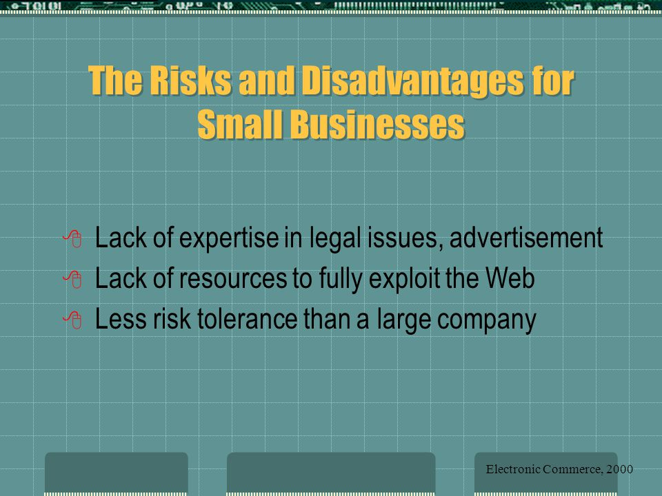 The Risks and Disadvantages for Small Businesses 8 Lack of expertise in legal issues, advertisement 8 Lack of resources to fully exploit the Web 8 Less risk tolerance than a large company Electronic Commerce, 2000