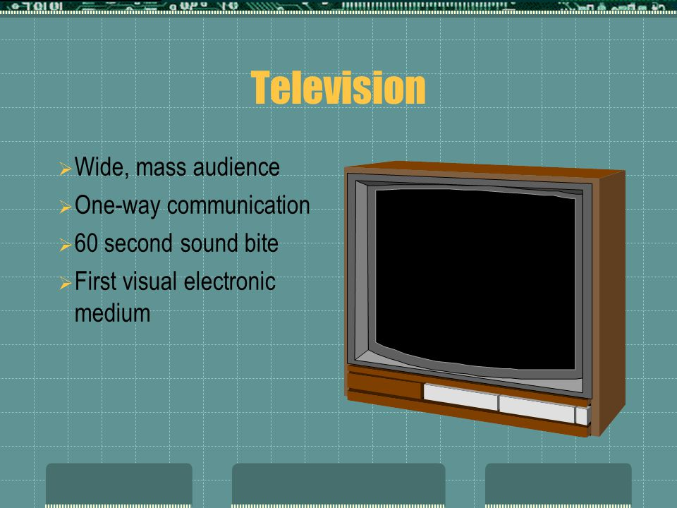 Television  Wide, mass audience  One-way communication  60 second sound bite  First visual electronic medium