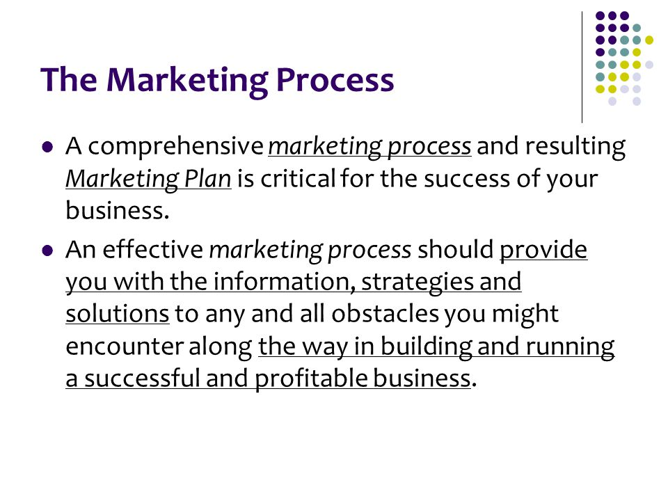 The Marketing Process A comprehensive marketing process and resulting Marketing Plan is critical for the success of your business. An effective market