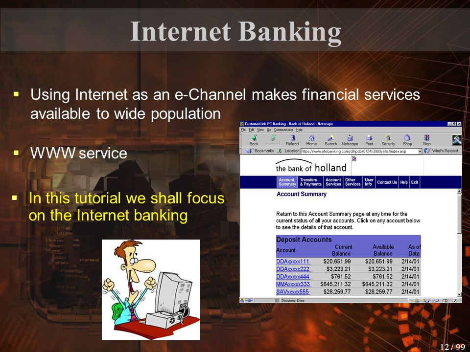 11 / 99 Some Facts  More then 12 million Internet bank consumers in Europe  In Germany 51% of the online population use online banking services (ave