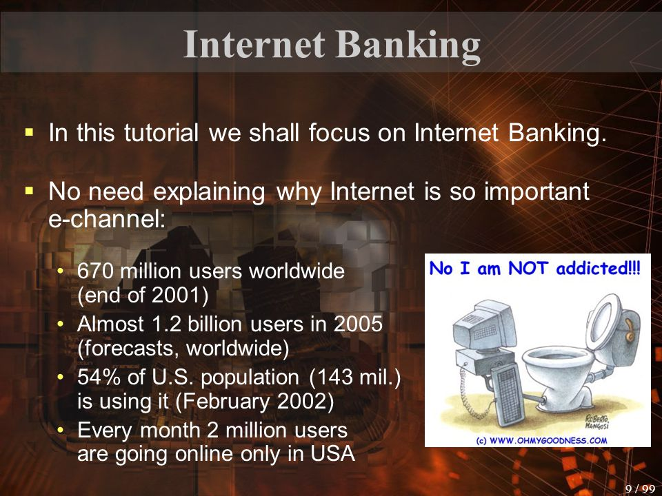 8 / 99 Electronic Banking By using Automated Teller Machines (ATMs), telephones (not via Internet) or debit cards. (debit cards look like credit card,