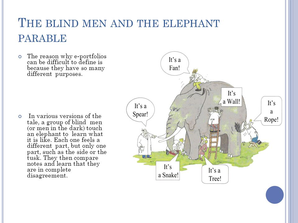 T HE BLIND MEN AND THE ELEPHANT PARABLE The reason why e-portfolios can be difficult to define is because they have so many different purposes.