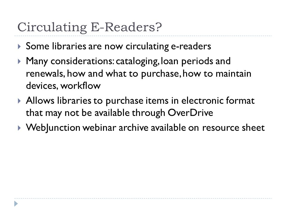 Circulating E-Readers.