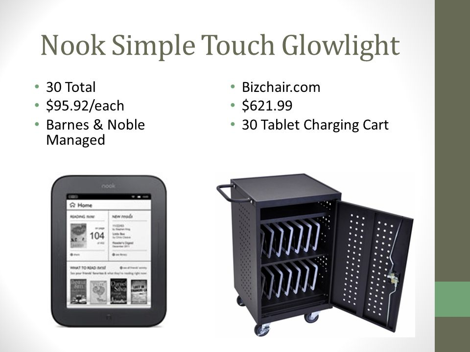 Nook Simple Touch Glowlight Bizchair.com $621.99 30 Tablet Charging Cart 30 Total $95.92/each Barnes & Noble Managed