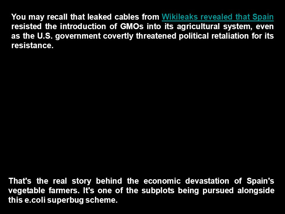 Wikileaks revealed that Spain That s the real story behind the economic devastation of Spain s vegetable farmers.
