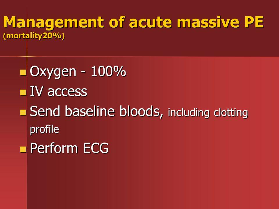 Management of acute massive PE ( mortality20% ) Oxygen - 100% Oxygen - 100% IV access IV access Send baseline bloods, including clotting profile Send