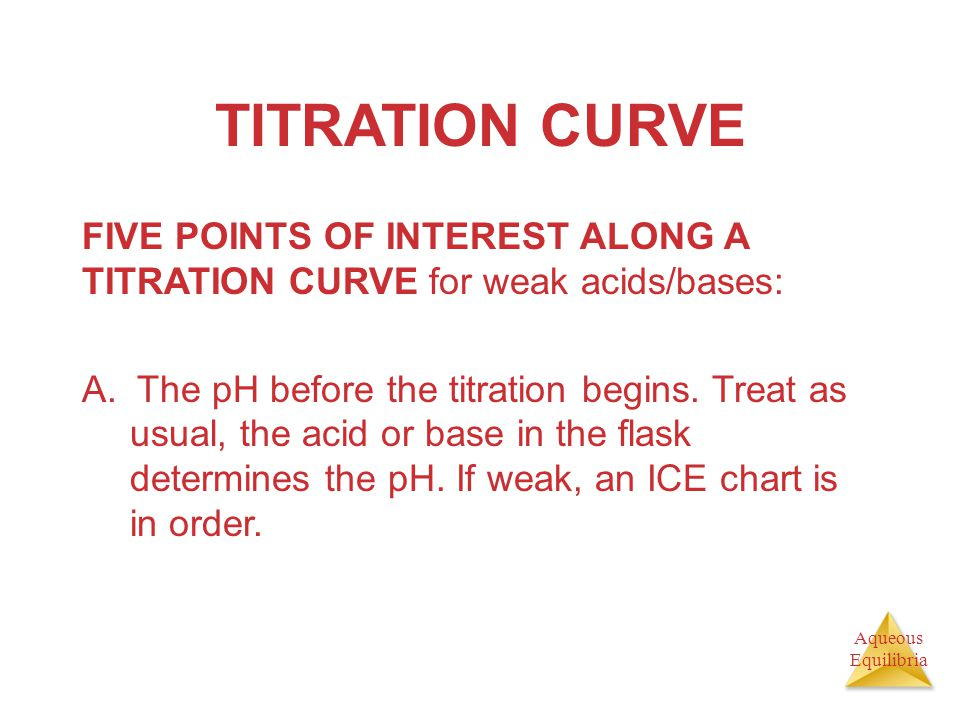 Aqueous Equilibria TITRATION CURVE FIVE POINTS OF INTEREST ALONG A TITRATION CURVE for weak acids/bases: A. The pH before the titration begins. Treat