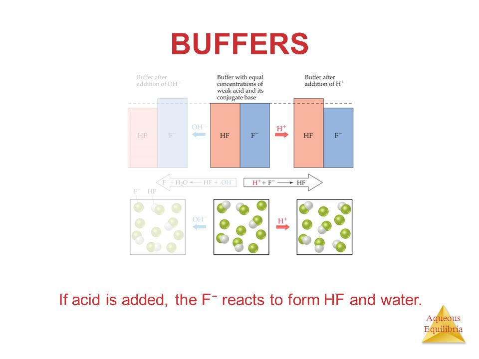 Aqueous Equilibria BUFFERS If acid is added, the F − reacts to form HF and water.