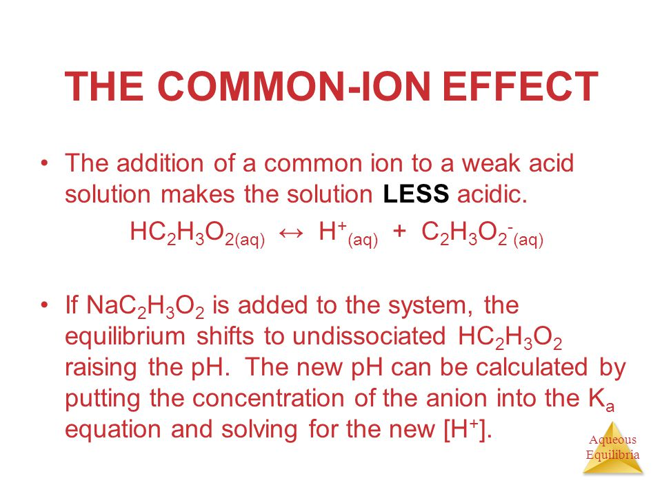 Aqueous Equilibria THE COMMON-ION EFFECT The addition of a common ion to a weak acid solution makes the solution LESS acidic. HC 2 H 3 O 2(aq) ↔ H + (