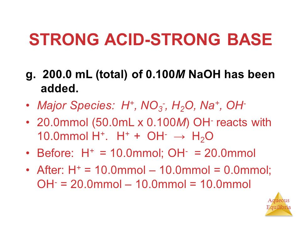 Aqueous Equilibria STRONG ACID-STRONG BASE g. 200.0 mL (total) of 0.100M NaOH has been added. Major Species: H +, NO 3 -, H 2 O, Na +, OH - 20.0mmol (