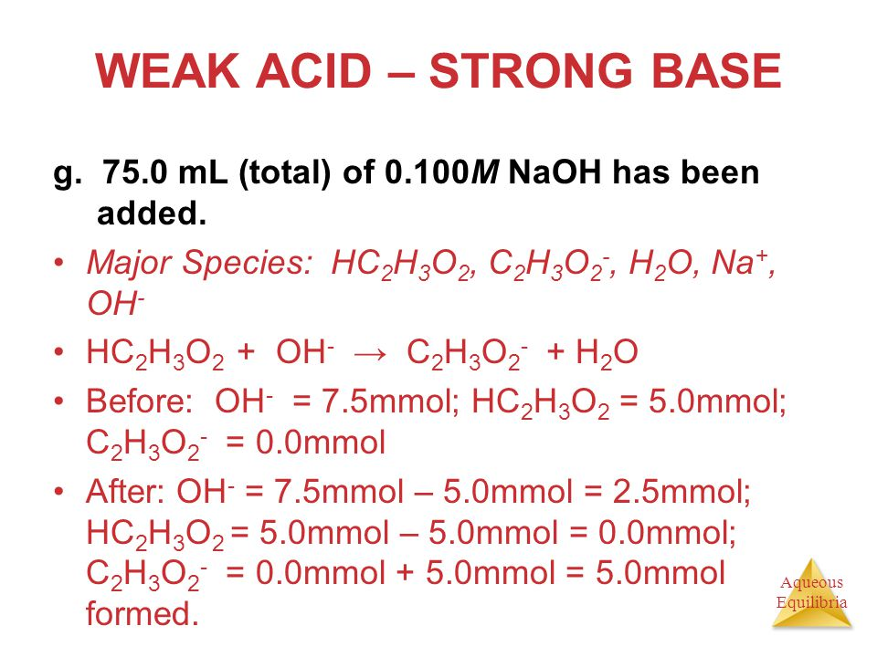 Aqueous Equilibria WEAK ACID – STRONG BASE g. 75.0 mL (total) of 0.100M NaOH has been added. Major Species: HC 2 H 3 O 2, C 2 H 3 O 2 -, H 2 O, Na +,