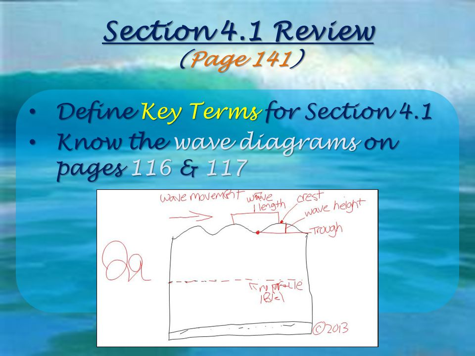 Section 4.1 Review (Page 141) Define Key Terms for Section 4.1 Define Key Terms for Section 4.1 Know the wave diagrams on pages 116 & 117 Know the wav