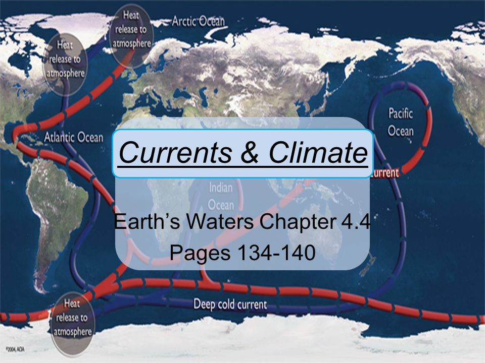Currents & Climate Earth's Waters Chapter 4.4 Pages 134-140
