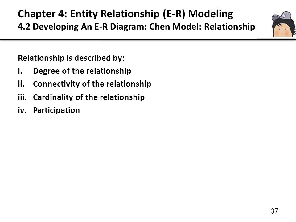 Chapter 4: Entity Relationship (E-R) Modeling 4.2 Developing An E-R Diagram: Chen Model: Relationship 37 Relationship is described by: i.Degree of the