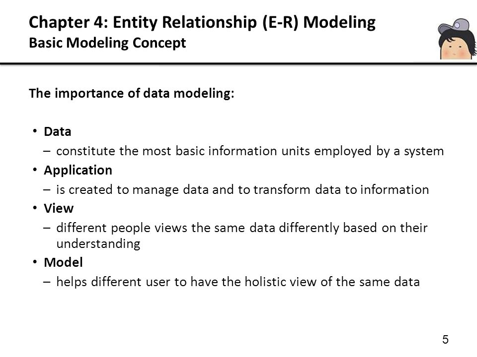 Chapter 4: Entity Relationship (E-R) Modeling Basic Modeling Concept 5 The importance of data modeling: Data –constitute the most basic information un