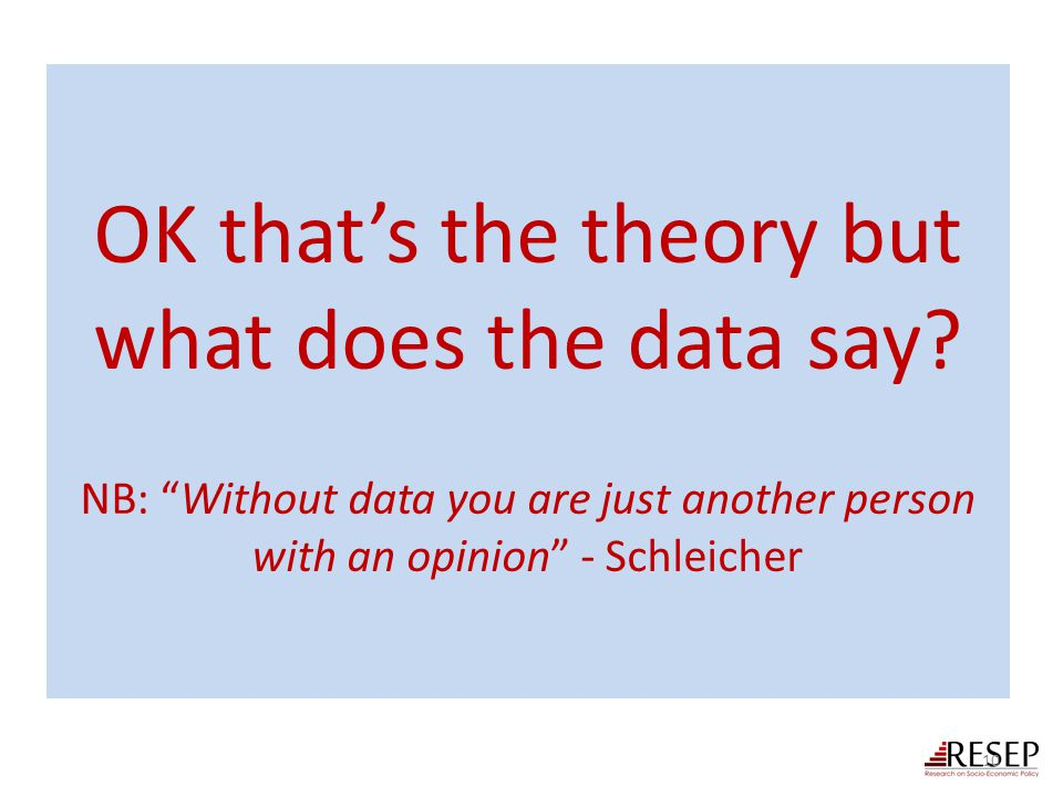 "OK that's the theory but what does the data say? NB: ""Without data you are just another person with an opinion"" - Schleicher 10"