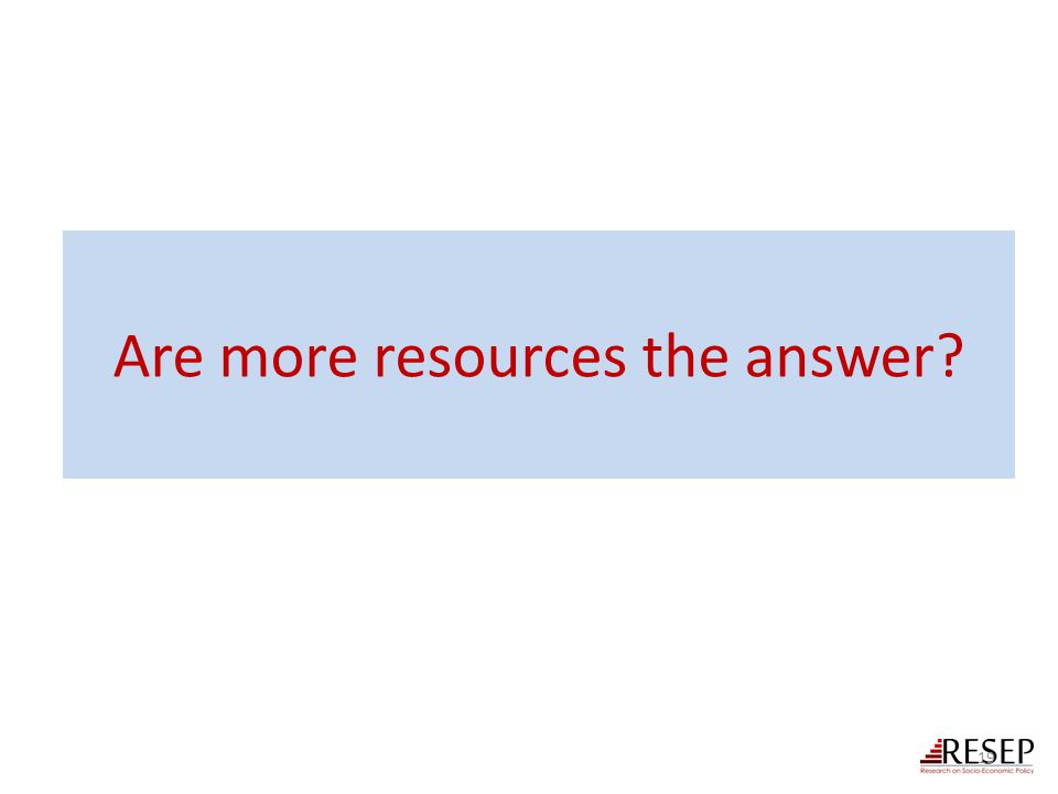 Are more resources the answer? 19