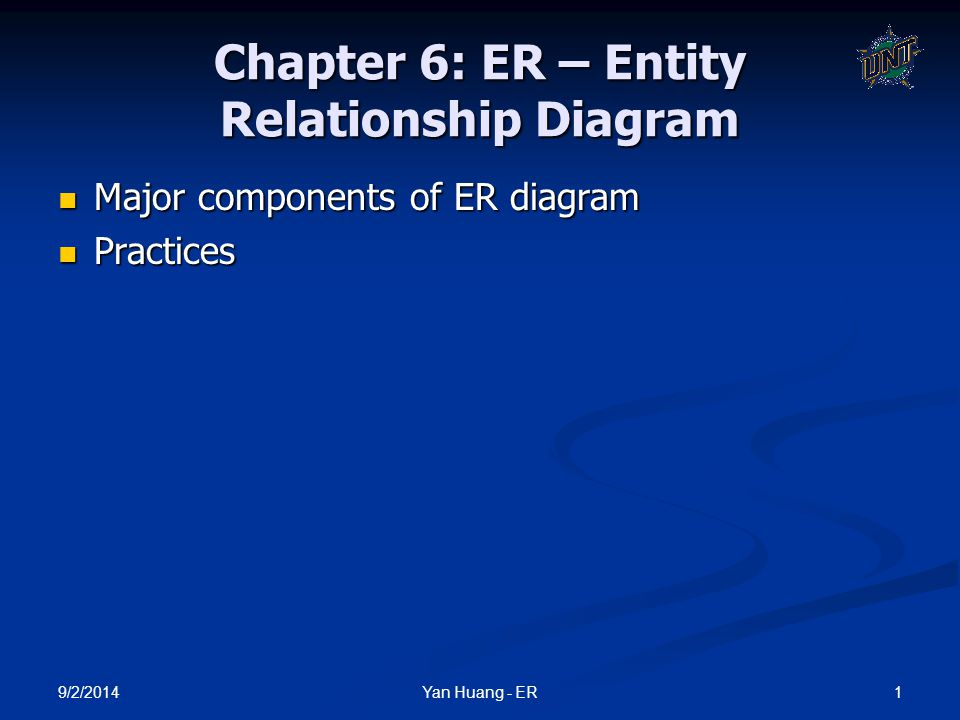 9/2/2014 2Yan Huang - ER ER 1976 proposed by Peter Chen 1976 proposed by Peter Chen ER diagram is widely used in database design ER diagram is widely used in database design Represent conceptual level of a database system Represent conceptual level of a database system Describe things and their relationships in high level Describe things and their relationships in high level