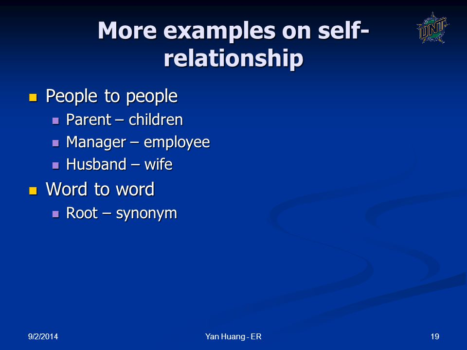 9/2/2014 19Yan Huang - ER More examples on self- relationship People to people People to people Parent – children Parent – children Manager – employee