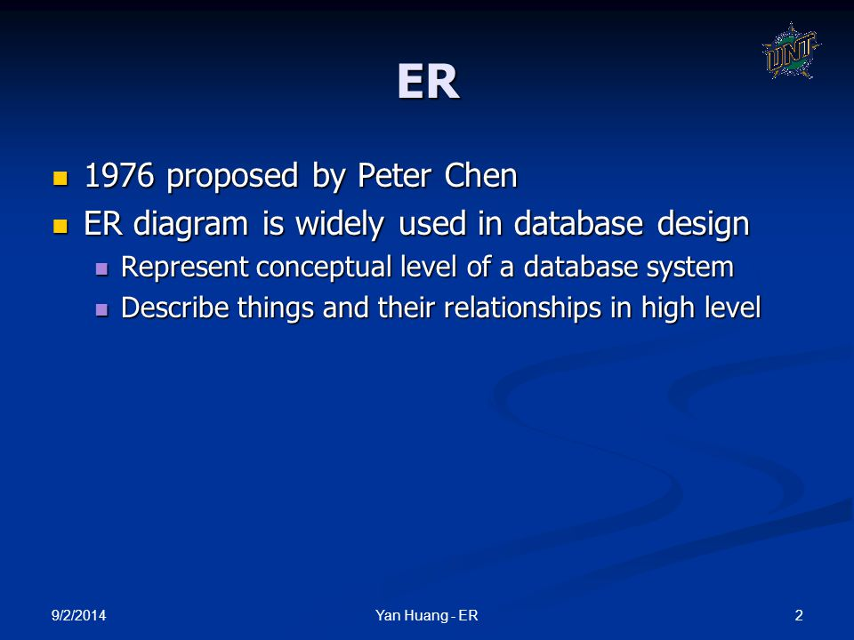 9/2/2014 2Yan Huang - ER ER 1976 proposed by Peter Chen 1976 proposed by Peter Chen ER diagram is widely used in database design ER diagram is widely
