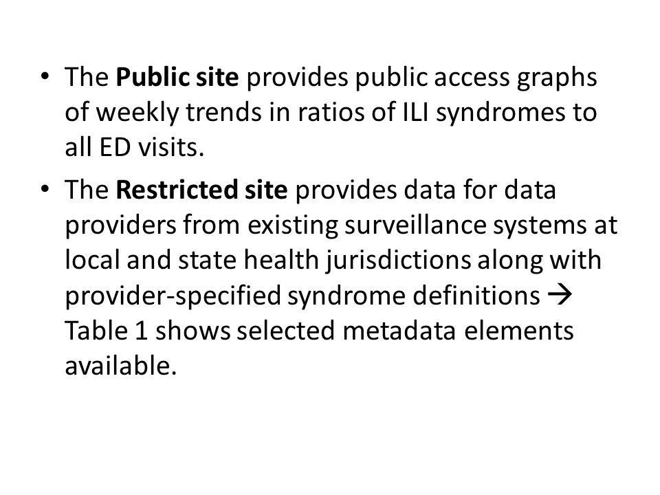 The Public site provides public access graphs of weekly trends in ratios of ILI syndromes to all ED visits.