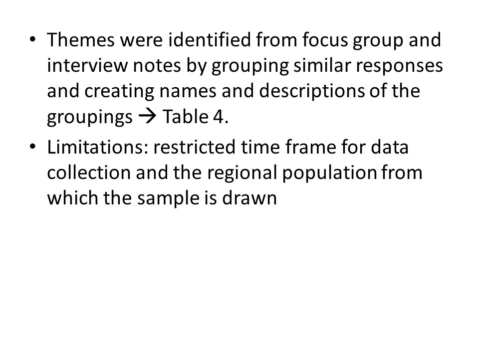 Themes were identified from focus group and interview notes by grouping similar responses and creating names and descriptions of the groupings  Table 4.