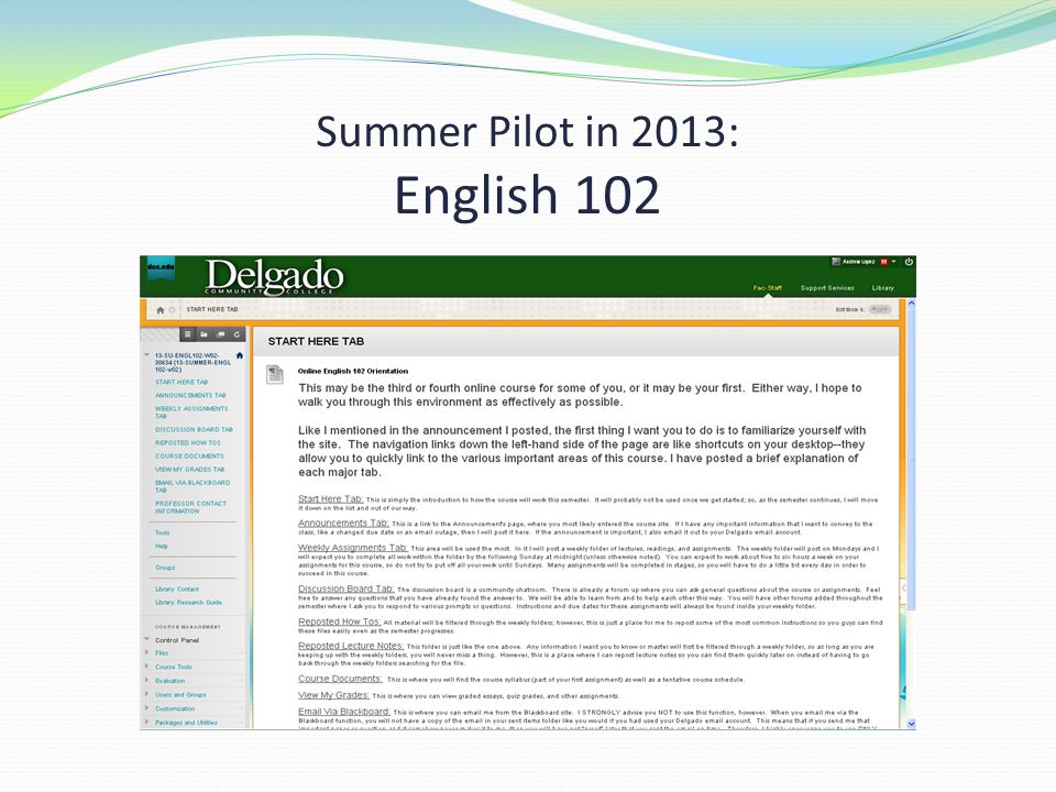 Summer Pilot in 2013: English 102