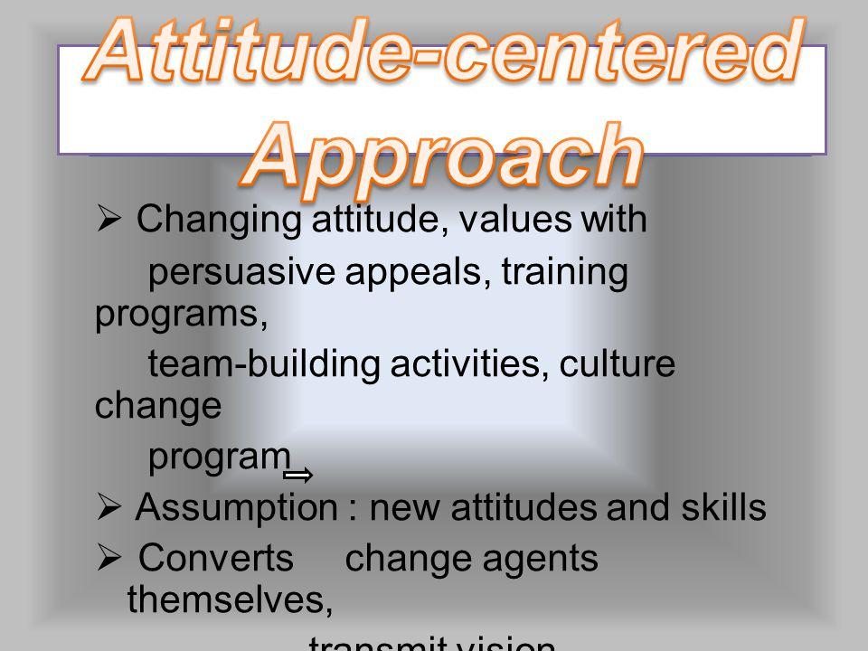  Changing attitude, values with persuasive appeals, training programs, team-building activities, culture change program  Assumption : new attitudes and skills  Converts change agents themselves, transmit vision
