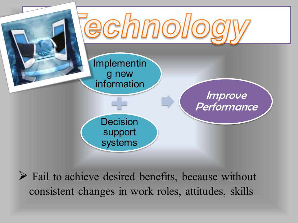  Fail to achieve desired benefits, because without consistent changes in work roles, attitudes, skills Implementin g new information Decision support systems Improve Performance