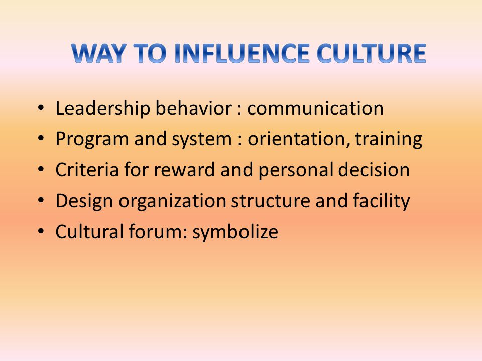 Leadership behavior : communication Program and system : orientation, training Criteria for reward and personal decision Design organization structure and facility Cultural forum: symbolize