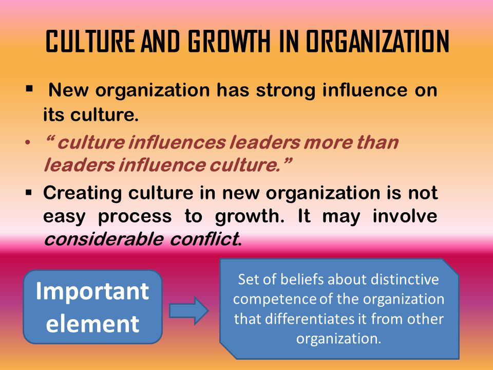 "CULTURE AND GROWTH IN ORGANIZATION  New organization has strong influence on its culture. "" culture influences leaders more than leaders influence cu"