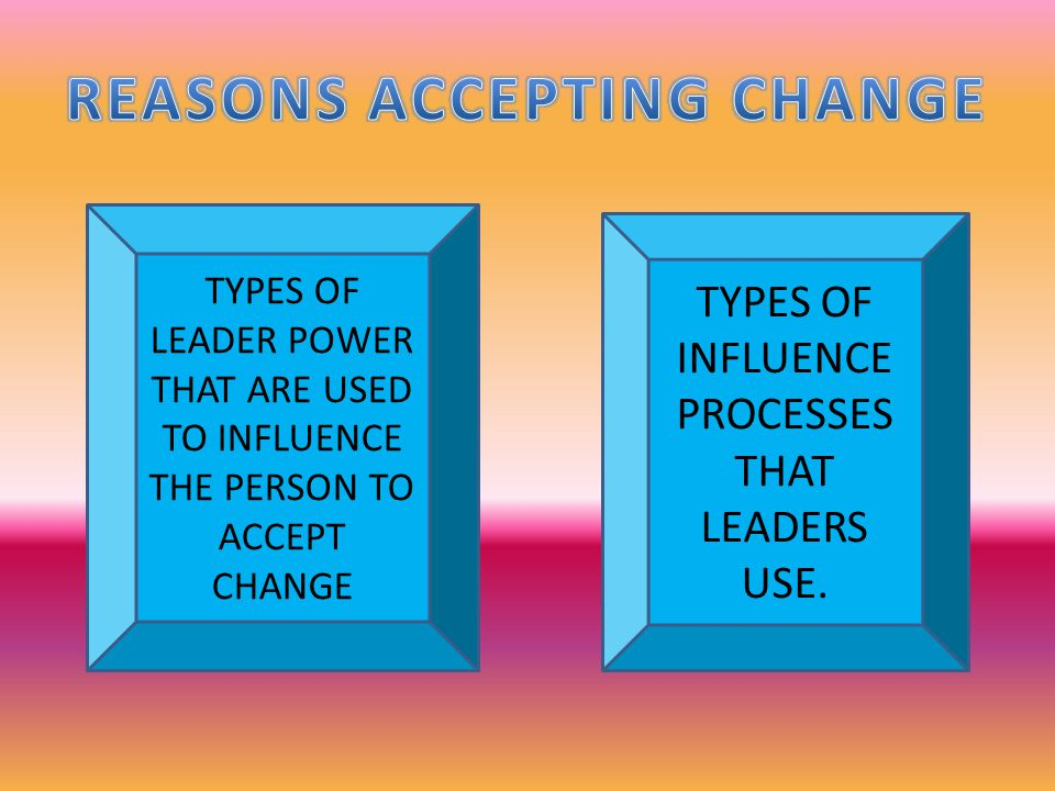 TYPES OF LEADER POWER THAT ARE USED TO INFLUENCE THE PERSON TO ACCEPT CHANGE TYPES OF INFLUENCE PROCESSES THAT LEADERS USE.