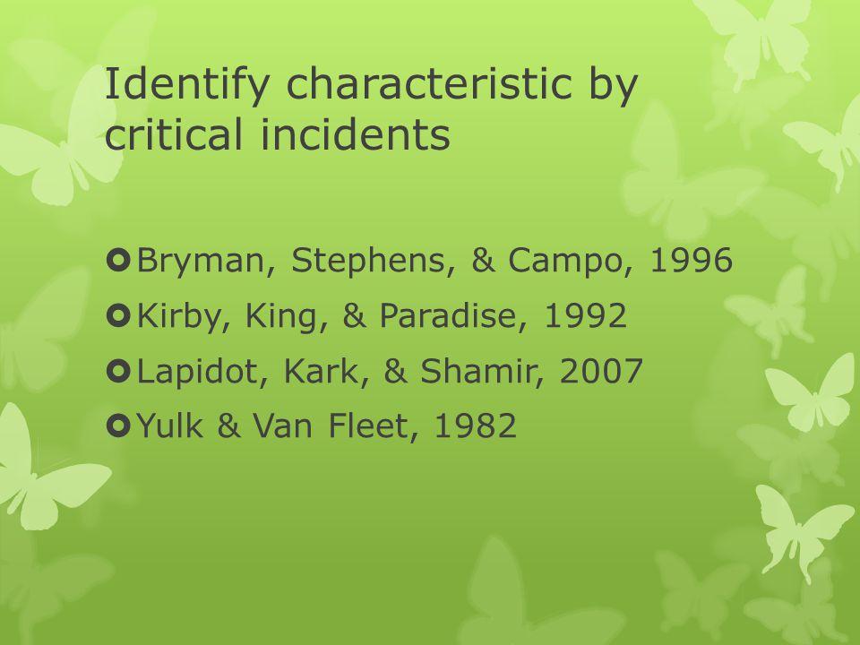 Identify characteristic by critical incidents  Bryman, Stephens, & Campo, 1996  Kirby, King, & Paradise, 1992  Lapidot, Kark, & Shamir, 2007  Yulk