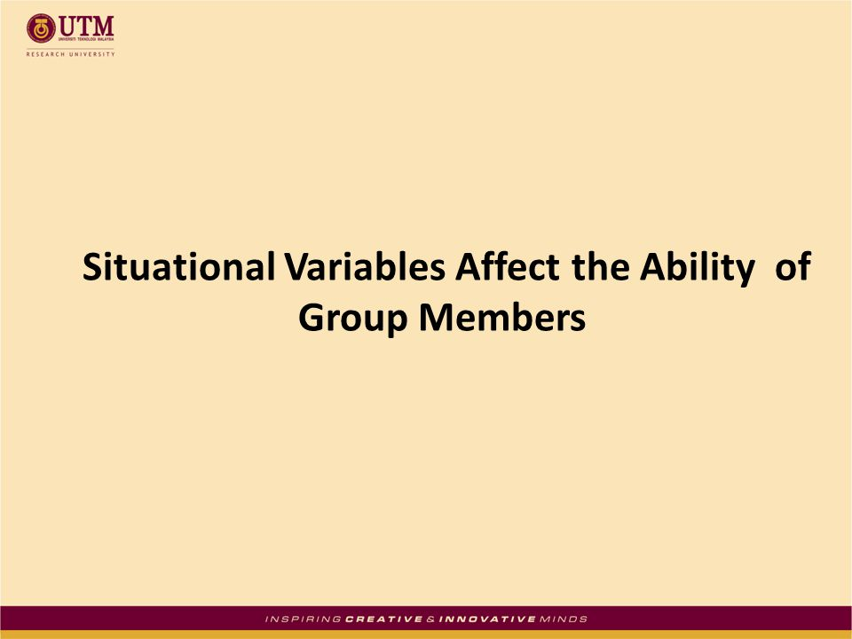 Situational Variables Affect the Ability of Group Members