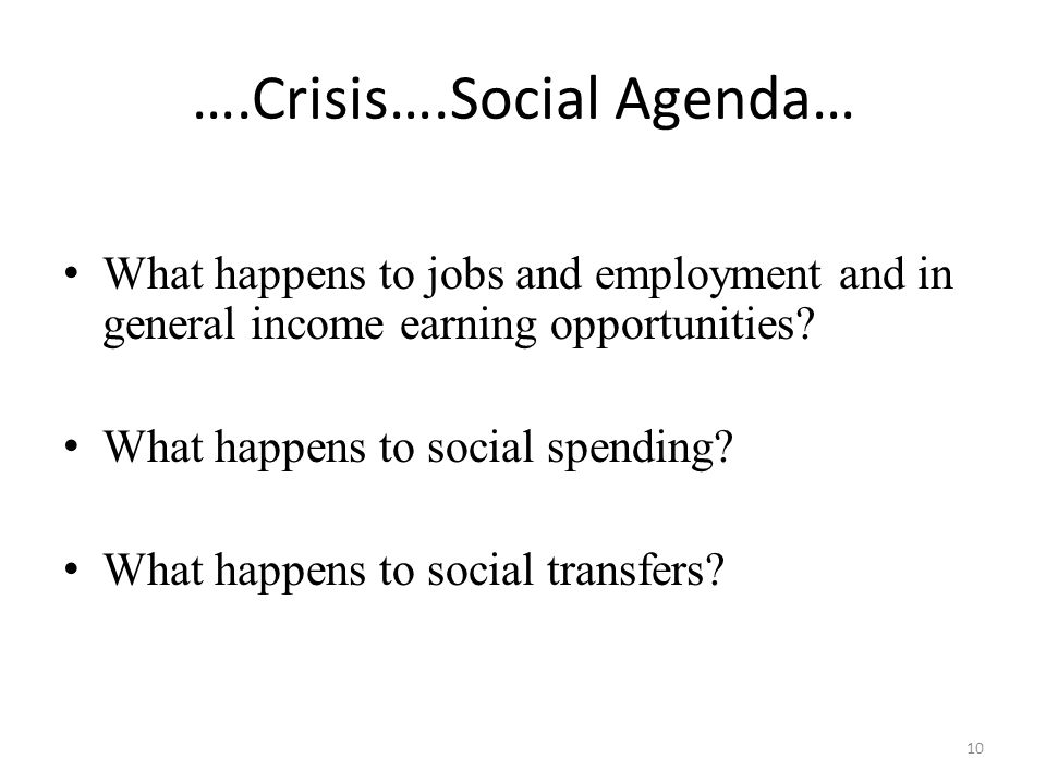 ….Crisis….Social Agenda… What happens to jobs and employment and in general income earning opportunities.