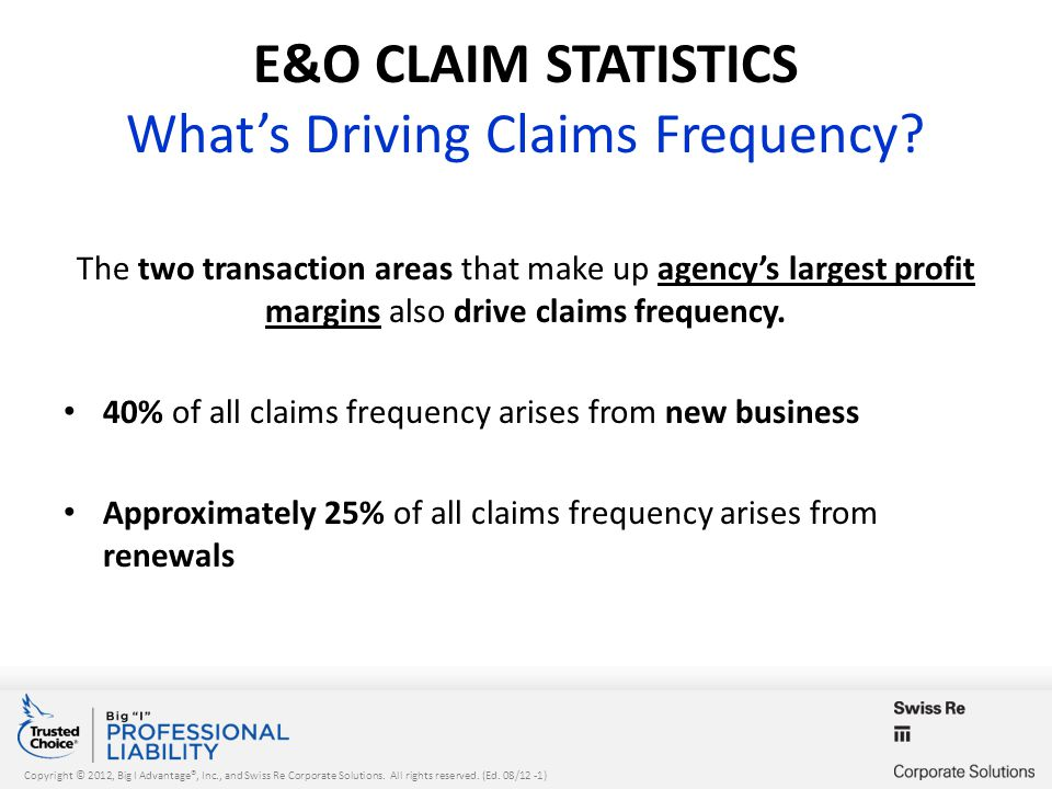 Copyright © 2012, Big I Advantage®, Inc., and Swiss Re Corporate Solutions. All rights reserved. (Ed. 08/12 -1) E&O CLAIM STATISTICS What's Driving Cl