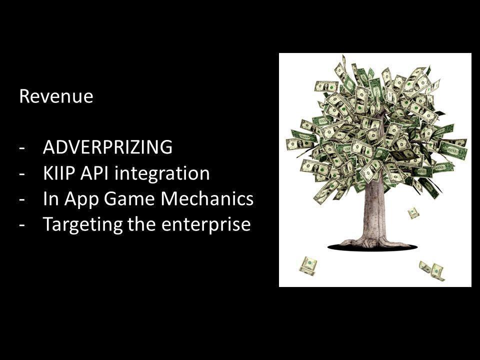 Revenue -ADVERPRIZING -KIIP API integration -In App Game Mechanics -Targeting the enterprise