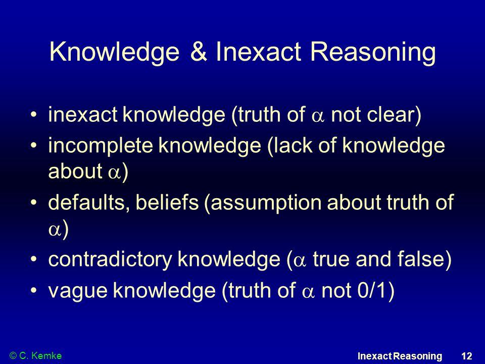 © C. Kemke Inexact Reasoning 12 Knowledge & Inexact Reasoning inexact knowledge (truth of  not clear) incomplete knowledge (lack of knowledge about 