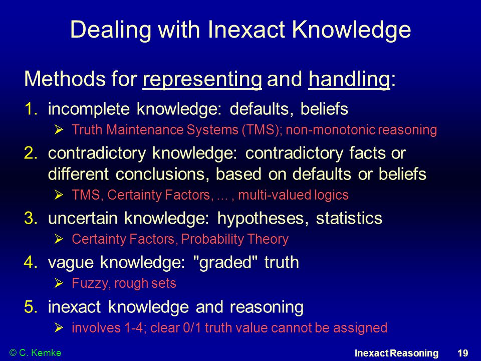 © C. Kemke Inexact Reasoning 19 Dealing with Inexact Knowledge Methods for representing and handling: 1.incomplete knowledge: defaults, beliefs  Trut